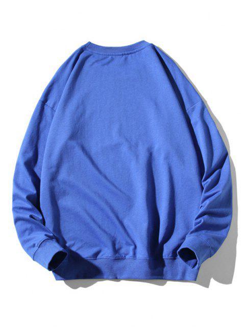 chic Cartoon Cat Fish Print Rib-knit Trim Sweatshirt - BLUE XL Mobile