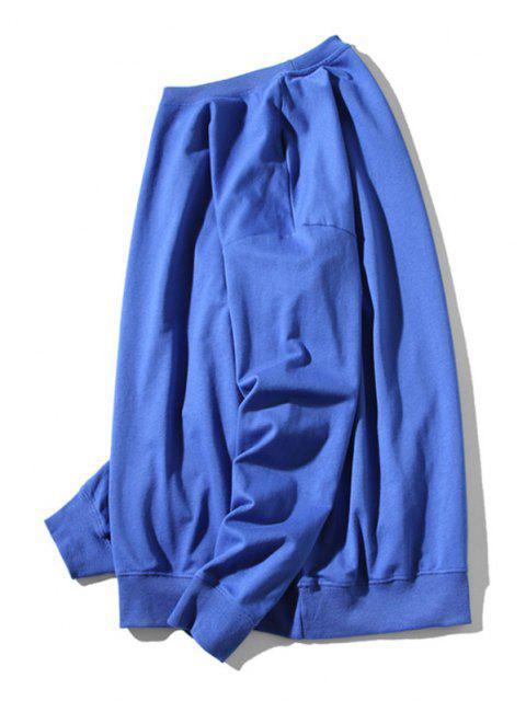 Sweat-shirt Chat Poisson Dessin Animé Imprimé à Ourlet Côtelé - Bleu XL Mobile
