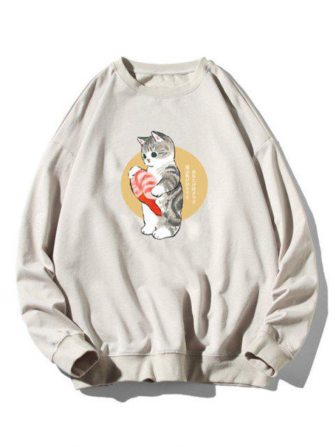 womens Cartoon Cat Fish Print Rib-knit Trim Sweatshirt - LIGHT GRAY 3XL Mobile