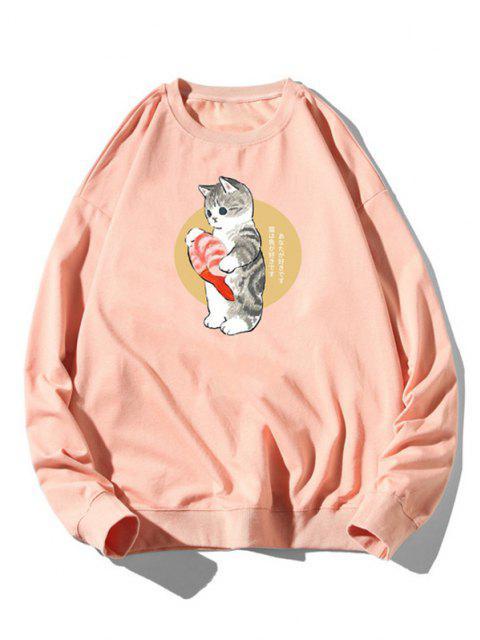 Sweat-shirt Chat Poisson Dessin Animé Imprimé à Ourlet Côtelé - Rose clair 3XL Mobile