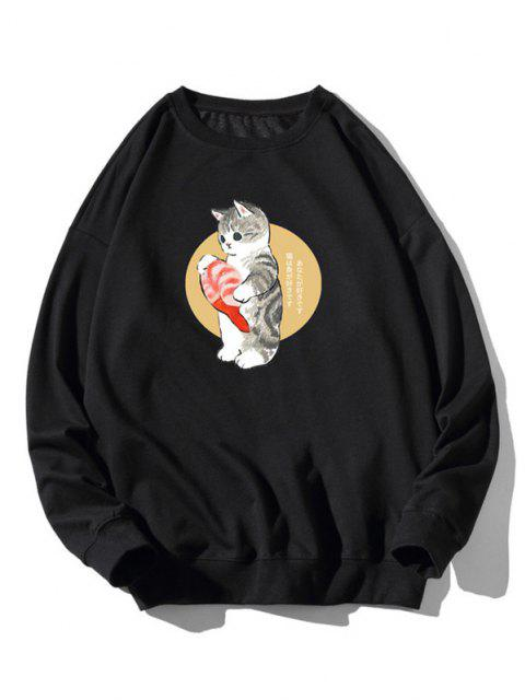 fashion Cartoon Cat Fish Print Rib-knit Trim Sweatshirt - BLACK 3XL Mobile