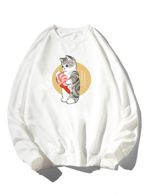 Sweat-shirt Chat Poisson Dessin Animé Imprimé à Ourlet Côtelé - Blanc 2XL Mobile