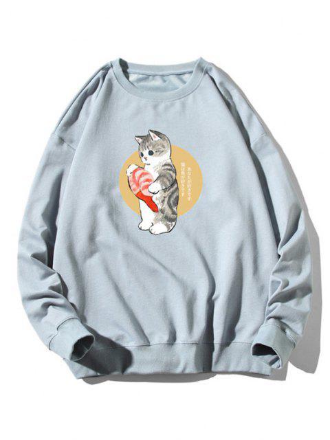 hot Cartoon Cat Fish Print Rib-knit Trim Sweatshirt - LIGHT BLUE 3XL Mobile