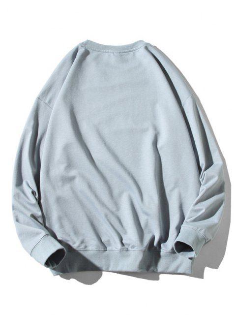 Cartoon Katze Fischdruck Rippen Trim Sweatshirt - Hellblau 2XL Mobile