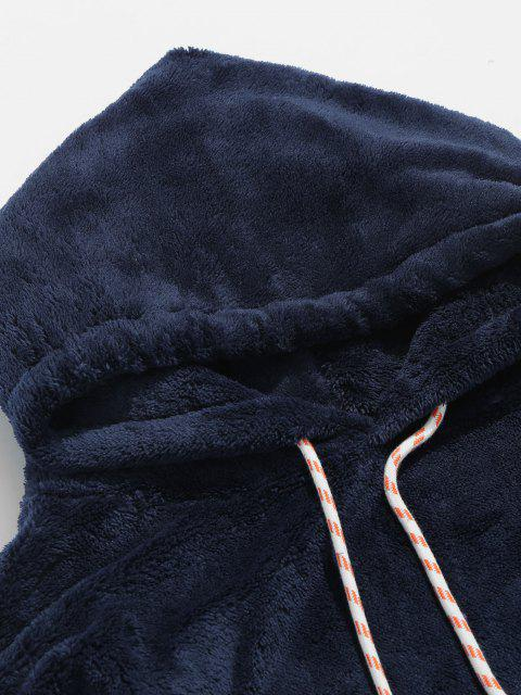 shops Solid Pouch Pocket Fluffy Hoodie - MARBLE BLUE XS Mobile