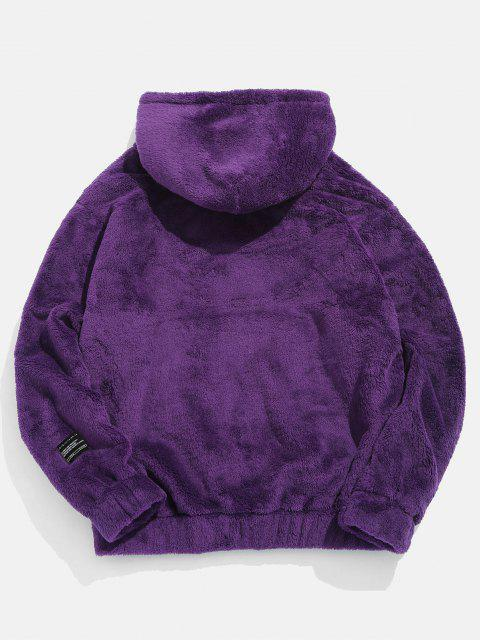 buy Solid Pouch Pocket Fluffy Hoodie - PURPLE XS Mobile