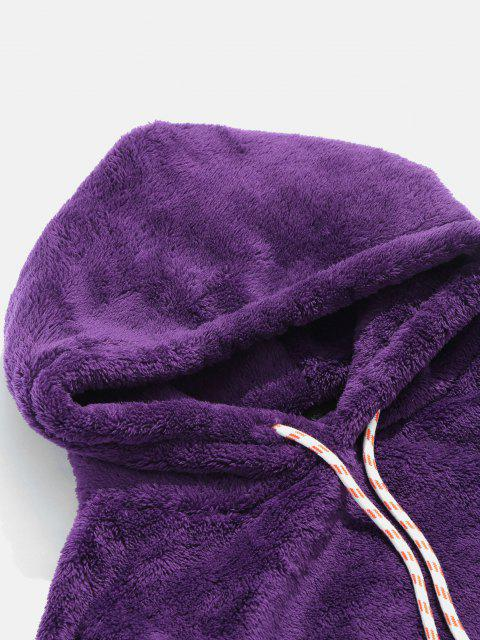 EinfarbigeTasche Flauschige Hoodie - Lila XS Mobile