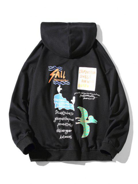 womens Animal Text Graphic Drop Shoulder Hoodie - BLACK 3XL Mobile