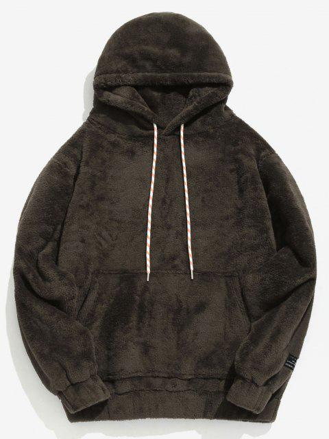 sale Solid Pouch Pocket Fluffy Hoodie - TAUPE XS Mobile