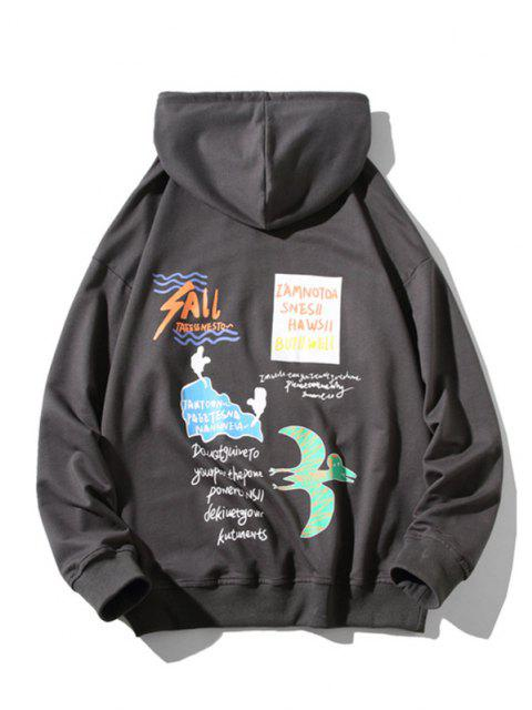 women's Animal Text Graphic Drop Shoulder Hoodie - DARK GRAY M Mobile