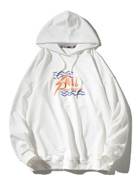 online Animal Text Graphic Drop Shoulder Hoodie - WHITE 3XL Mobile