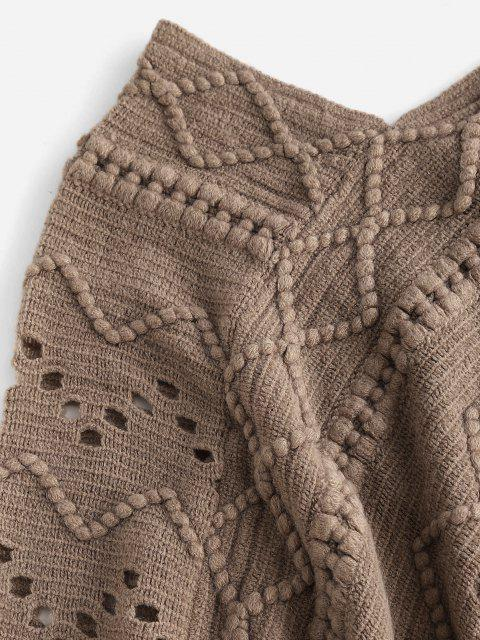 best Fringed Pointelle Open Knit Poncho Sweater - LIGHT COFFEE ONE SIZE Mobile