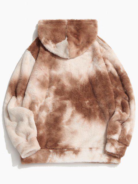 new Tie Dye Faux Fur Ring Half Zipper Hoodie - LIGHT COFFEE S Mobile