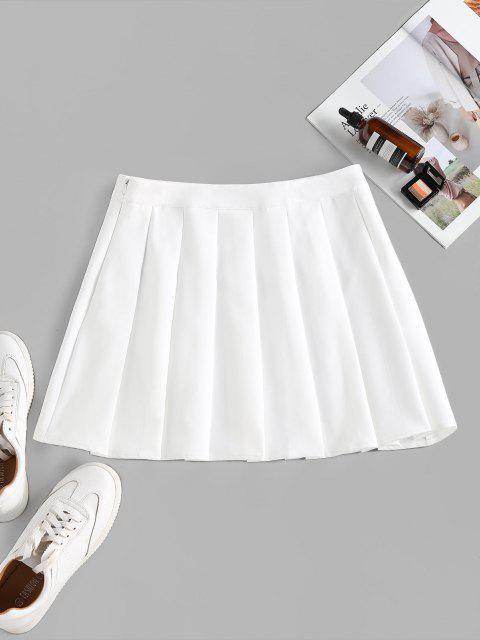 ZAFUL High Waist Pleated Mini Skirt - أبيض M Mobile