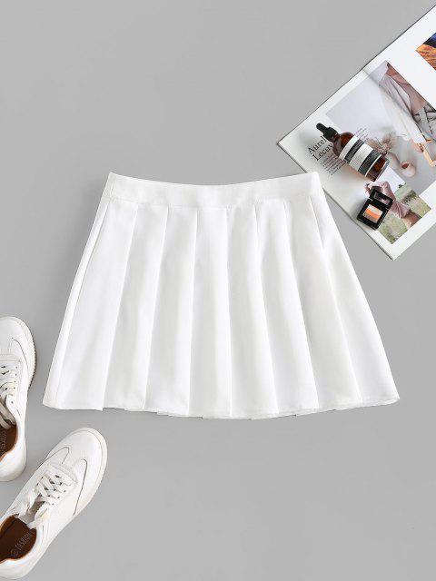 ZAFUL High Waist Pleated Mini Skirt - أبيض L Mobile