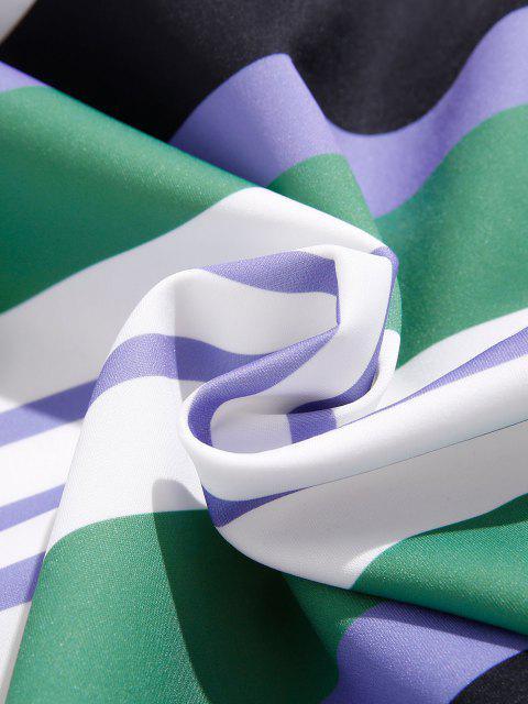 Gestreifter Druck Vorder Taschen Hoodie - Mittleres Meer Grün XL Mobile