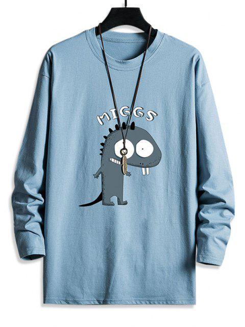 Camiseta de Lazer gola cavada com estampa gráfica de Dinossauro mangas longas - Céu Azul M Mobile