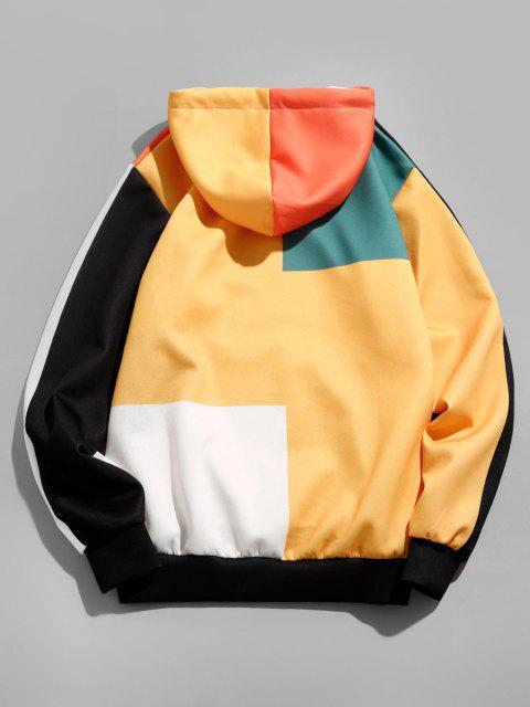 Sweat à CapucheDécontractéen Blocs de Couleurs avec Poche en Avant - Orange Citrouille XL Mobile