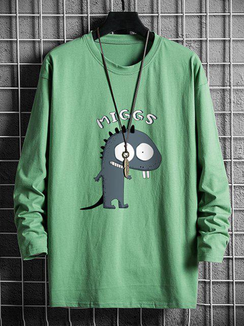 Camiseta Casual con Cuello Redondo de Dinosaurio - Verde Oscuro XS Mobile