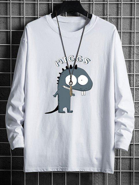 Camiseta Casual con Cuello Redondo de Dinosaurio - Blanco XS Mobile