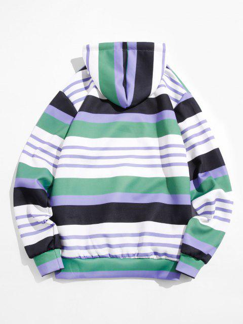 fancy Striped Print Front Pocket Hoodie - MEDIUM SEA GREEN M Mobile