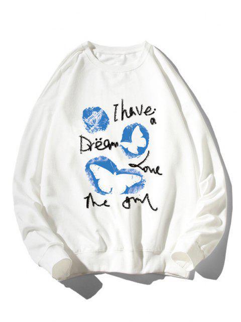 Sweat-shirt Graphique Animal Imprimé à Ourlet Côtelé - Blanc 3XL Mobile