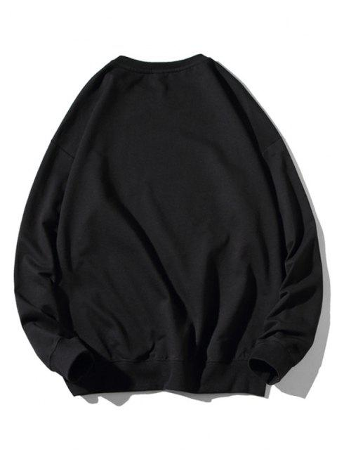 sale Animal Graphic Print Rib-knit Trim Sweatshirt - BLACK 3XL Mobile