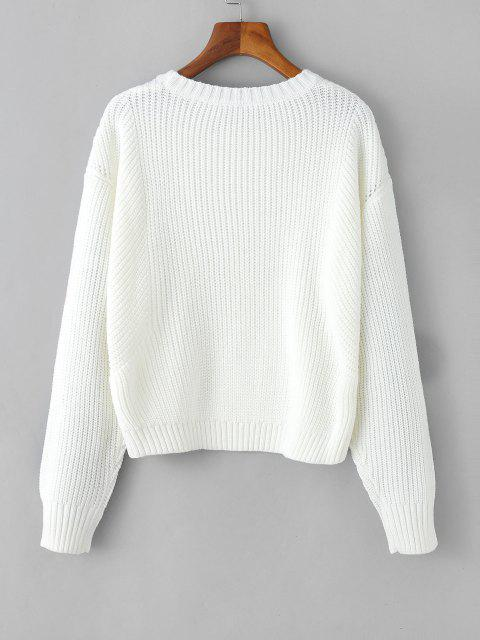outfit Chunky Knit Drop Shoulder Plain Sweater - WHITE ONE SIZE Mobile