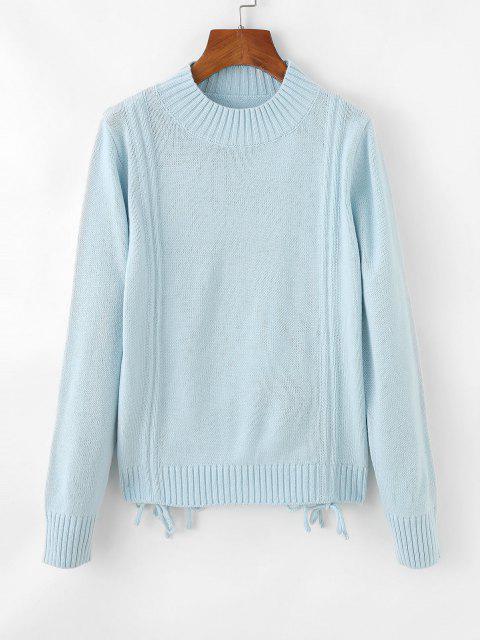 Geschliffener Pullover mit Rundhalsausschnitt - Hellblau Eine Größe Mobile