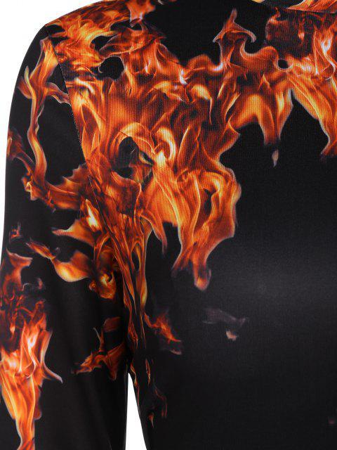 fashion ZAFUL Cutout 3D Flame Print Crop Tee - BLACK XL Mobile