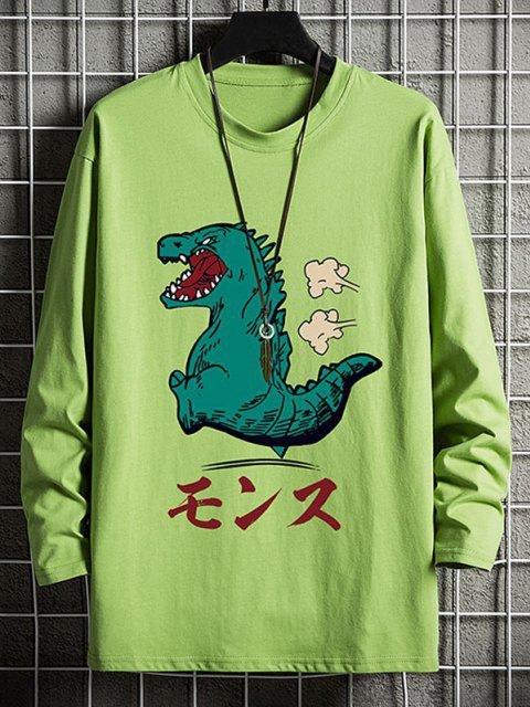new Cartoon Tyrannosauru Graphic Drop Shoulder Leisure T Shirt - AVOCADO GREEN XS Mobile