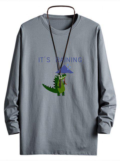 unique Rainy Dinosaur Graphic Drop Shoulder Long Sleeve T Shirt - DARK GRAY S Mobile