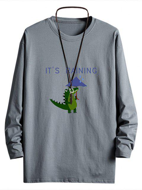 Rainy Dinosaur Graphic Drop Shoulder Long Sleeve T Shirt - الرمادي الداكن S Mobile