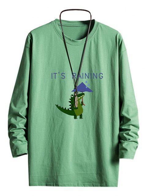 Rainy Dinosaur Graphic Drop Shoulder Long Sleeve T Shirt - ديب غرين S Mobile
