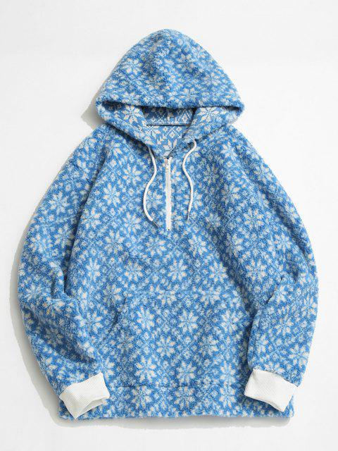 ladies Tie Dye Snowflake Pattern Teddy Hoodie - LIGHT BLUE M Mobile