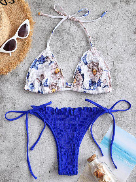 lady ZAFUL Halter Floral Smocked Tie String Bikini Swimwear - BLUE S Mobile