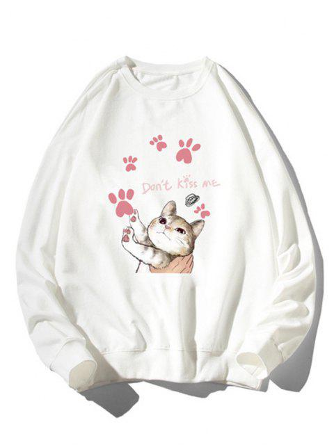 buy Cartoon Cat Print Rib-knit Trim Cute Sweatshirt - WHITE M Mobile