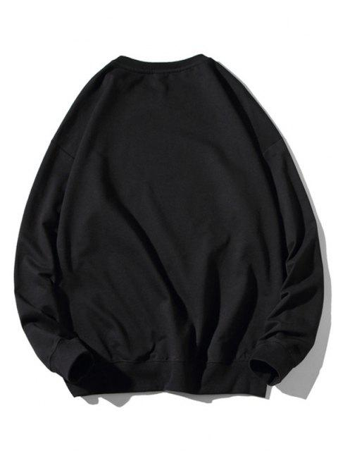 women Cartoon Cat Print Rib-knit Trim Cute Sweatshirt - BLACK XL Mobile
