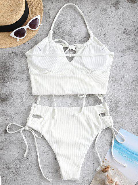 ZAFUL Halfter Gerippte Schlüsselloch Tankini Badebekleidung - Weiß S Mobile