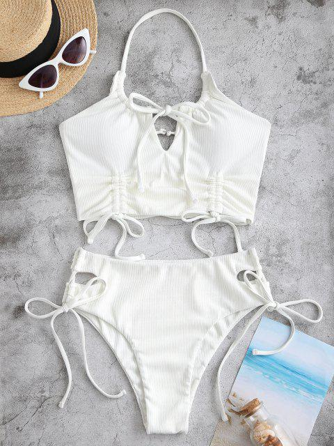 womens ZAFUL Halter Ribbed Cinched Keyhole Tankini Swimwear - WHITE M Mobile