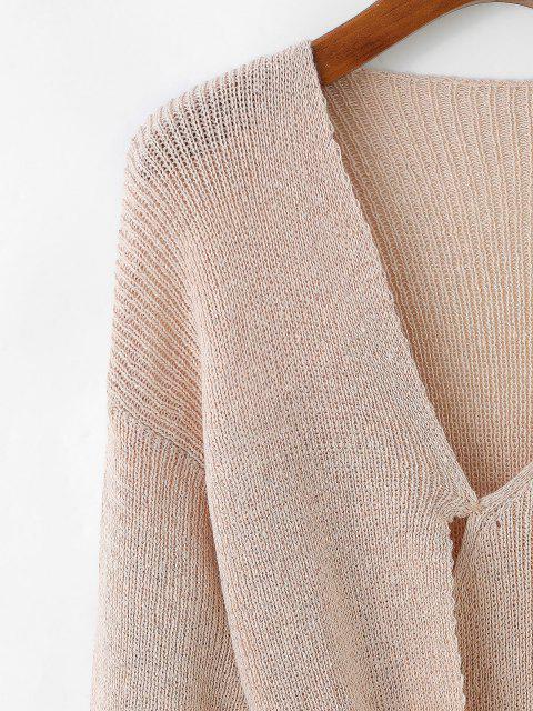 Lange Pullover mit V Ausschnitt und Krawatte - Helles Khaki Eine Größe Mobile