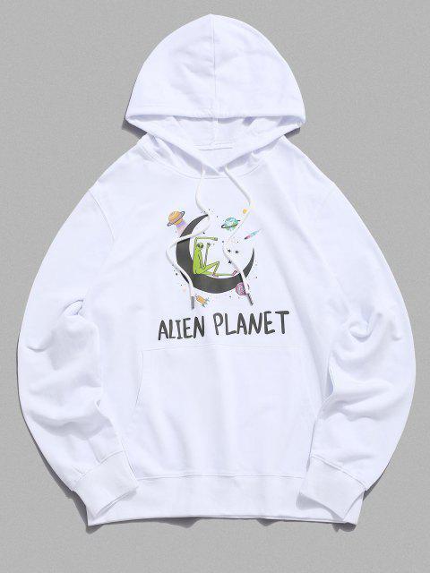 buy Kangaroo Pocket Alien Planet Drawstring Hoodie - WHITE M Mobile