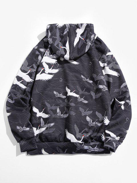 hot Wave Crane Print Kangaroo Pocket Hoodie - BLACK XL Mobile