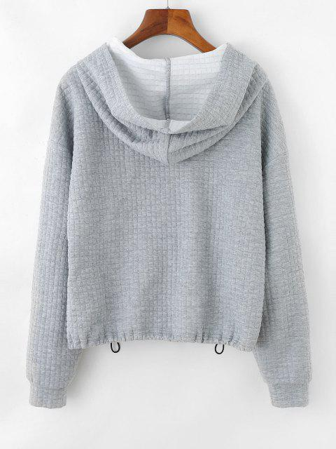 outfit ZAFUL Textured Butterfly Applique Drop Shoulder Zipper Hoodie - LIGHT GRAY L Mobile