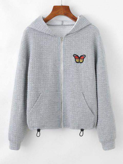 fancy ZAFUL Textured Butterfly Applique Drop Shoulder Zipper Hoodie - LIGHT GRAY S Mobile