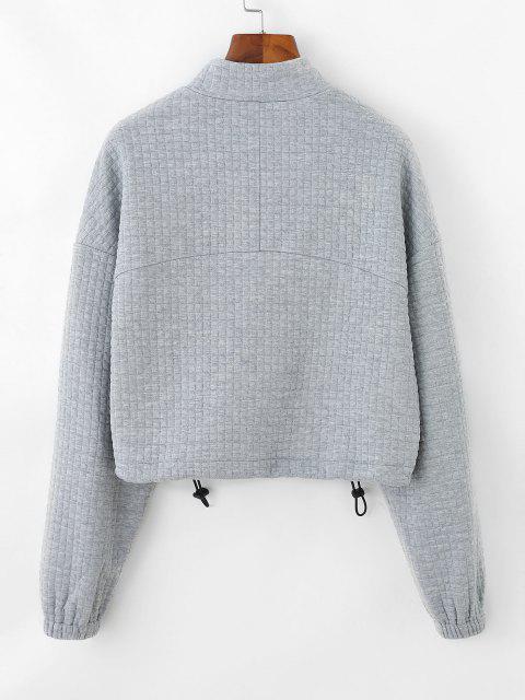 outfits ZAFUL Textured Half Zip Drop Shoulder Sweatshirt - LIGHT GRAY S Mobile