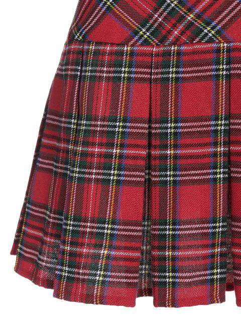latest ZAFUL Plaid Pleated Mini Skirt - RED L Mobile