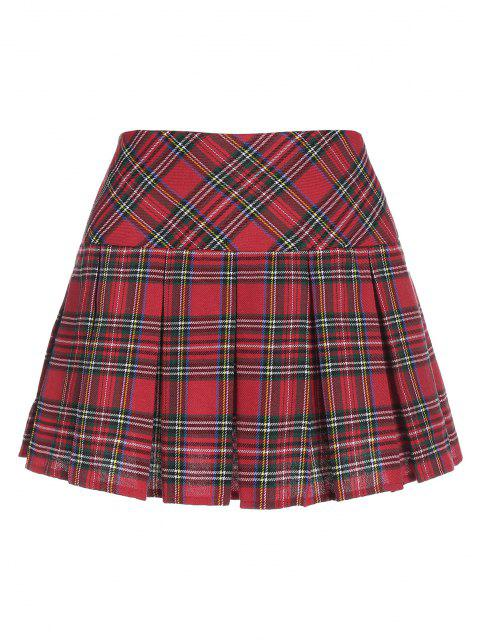 ZAFUL Plaid Pleated Mini Skirt - أحمر S Mobile