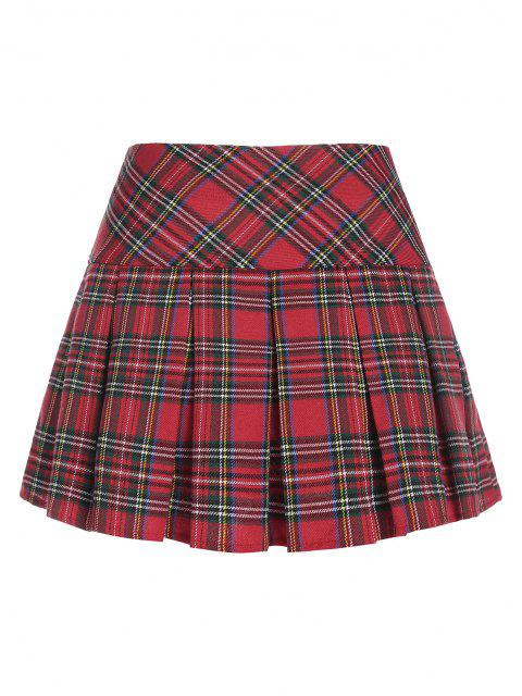 chic ZAFUL Plaid Pleated Mini Skirt - RED XL Mobile