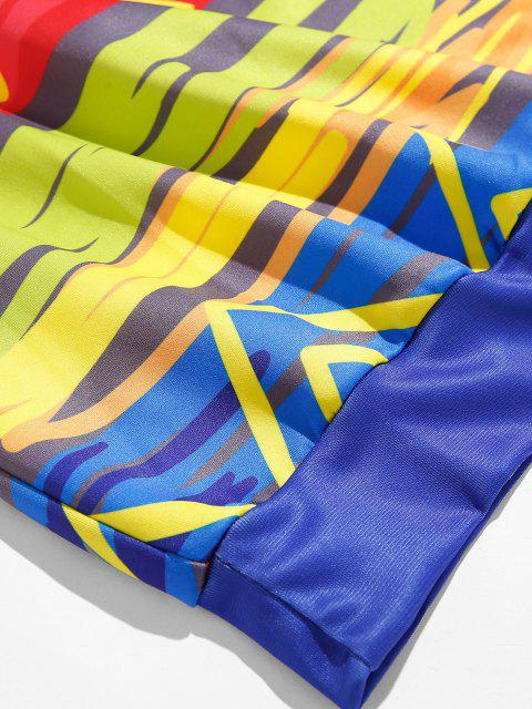 Bunter Pinsel Strokedruck Lounge Rundhals Sweatshirt - Seiden Blau S Mobile